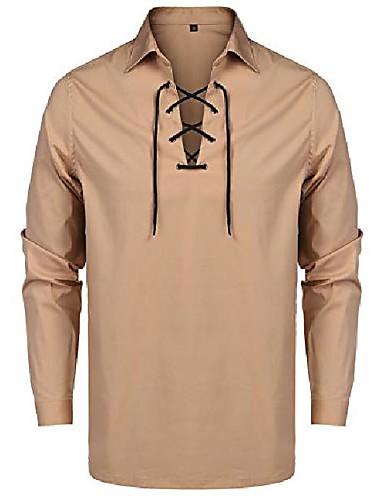 저렴한 헨리 셔츠-남성 솔리드 헨리 셔츠 슬림 피트 긴 소매 캐주얼 코튼 레이스 업 티셔츠 카키색 m