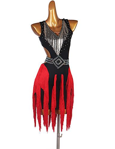 billige Dansetøj - latinamerikanske danse-Latin Dans Kjole Kvast Krystal / Rhinsten Dame Ydeevne Uden ærmer Spandex