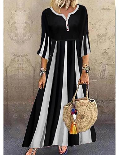 cheap Maxi Dresses-Women's A-Line Dress Maxi long Dress - 3/4 Length Sleeve Black & White Color Block Summer V Neck Casual Daily Flare Cuff Sleeve 2020 Black M L XL XXL XXXL