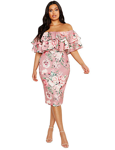 cheap Plus Size Dresses-Women's Sheath Dress Knee Length Dress - Short Sleeve Print Ruffle Patchwork Print Spring Off Shoulder Elegant Party Slim 2020 White Black Blue Blushing Pink XL XXL XXXL XXXXL XXXXXL