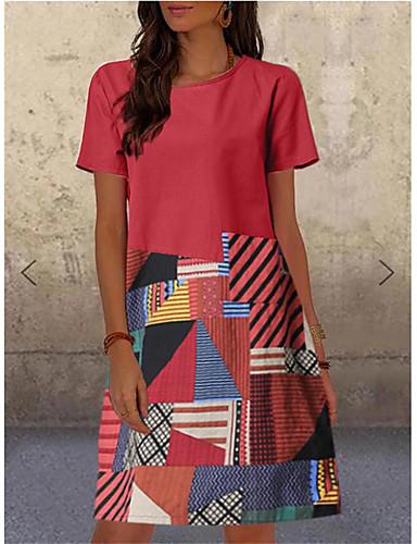 cheap Knee Length Dresses-Women's Shift Dress Knee Length Dress - Short Sleeve Color Block Spring Summer Casual 2020 Red Green Royal Blue M L XL XXL