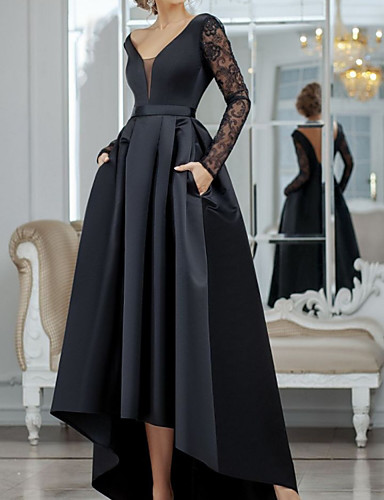 cheap Special Occasion Dresses-A-Line Minimalist Sexy Wedding Guest Formal Evening Dress V Neck Long Sleeve Asymmetrical Lace Satin with Pleats Lace Insert 2020