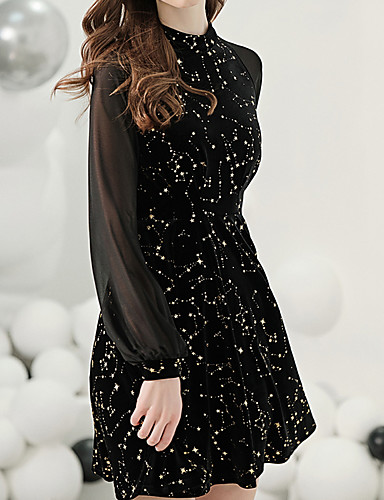cheap Special Occasion Dresses-A-Line Elegant Little Black Dress Party Wear Cocktail Party Dress Jewel Neck Long Sleeve Short / Mini Jersey with Pattern / Print 2020