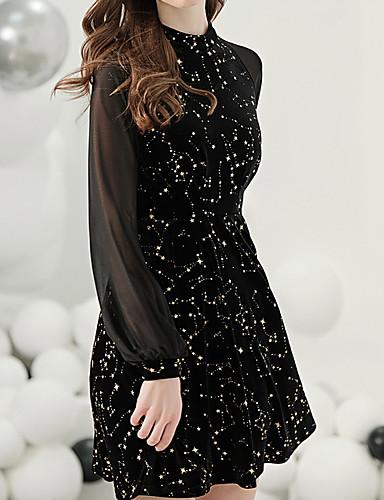 abordables Vestidos para Ocasiones Especiales-Corte en A Elegante Vestiditos Negros Ropa de fiesta Fiesta de Cóctel Vestido Joya Manga Larga Corta / Mini Jersey con Diseño / Estampado 2020