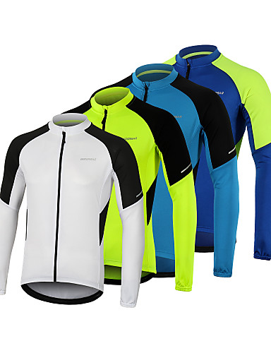 cheap Cycling Jerseys-Arsuxeo Men's Long Sleeve Cycling Jersey Winter Polyester White Blue Green Bike Jersey Top Mountain Bike MTB Road Bike Cycling Breathable Quick Dry Reflective Strips Sports Clothing Apparel
