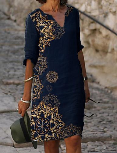 preiswerte Bedruckte Kleider-Damen Etuikleid Knielanges Kleid - Halbe Ärmel Blumen Druck Sommer V-Ausschnitt Elegant Alltag Lose 2020 Blau M L XL XXL XXXL