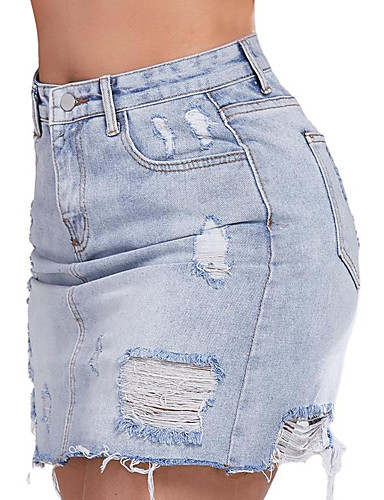 cheap Women's Skirts-Women's Basic Denim Above Knee Skirts Solid Colored Cut Out