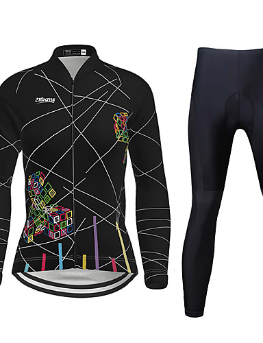 cheap Cycling Jersey & Shorts / Pants Sets-21Grams Women's Long Sleeve Cycling Jersey with Tights Winter Lycra Polyester Black Purple Yellow Plus Size Bike Clothing Suit Breathable 3D Pad Quick Dry Ultraviolet Resistant Reflective Strips