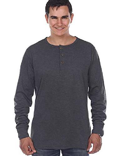 abordables Camisas Henley-pero& # 39; s camisas henley manga larga trabajo informal completo suave térmico básico abotonado camisetas gris oscuro s