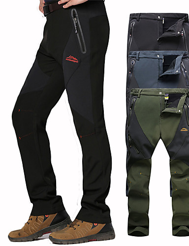 cheap Hiking Trousers & Shorts-Men's Hiking Pants Softshell Pants Patchwork Winter Outdoor Waterproof Windproof Breathable Warm Pants / Trousers Bottoms Dark Grey Black Army Green Camping / Hiking Hunting Fishing L XL XXL XXXL 4XL