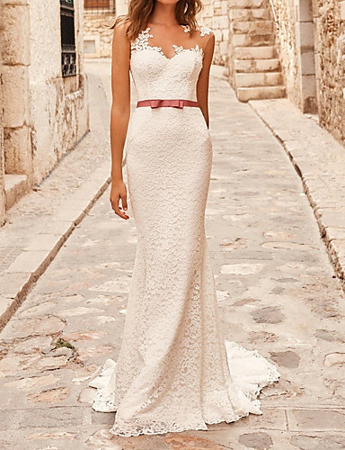 cheap Wedding Dresses-Mermaid / Trumpet Wedding Dresses Jewel Neck Sweep / Brush Train Lace Sleeveless Country with Sashes / Ribbons Bow(s) 2020