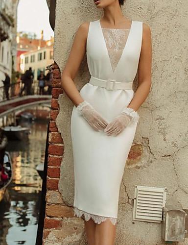 cheap Wedding Dresses-Sheath / Column Wedding Dresses Square Neck Knee Length Lace Satin Sleeveless Vintage 1950s with Sashes / Ribbons 2020