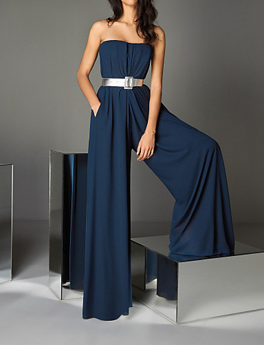 cheap Special Occasion Dresses-Jumpsuits Sexy Blue Wedding Guest Formal Evening Dress Strapless Sleeveless Floor Length Chiffon with Sash / Ribbon 2020