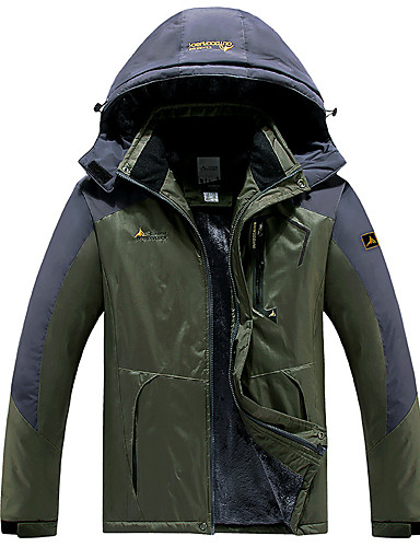 cheap Softshell, Fleece & Hiking Jackets-Men's Hiking Jacket Hiking Windbreaker Winter Outdoor Solid Color Thermal Warm Thermal Windproof Breathable Jacket Top Hunting Fishing Climbing Black / Red / Army Green / Khaki / Green / Quick Dry