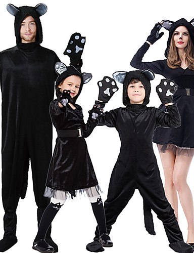 cheap Halloween & Carnival Costumes-Cat Cosplay Costume Outfits Group Costume Kid's Adults' Men's Cosplay Halloween Halloween Festival / Holiday Plush Fabric Black Men's Women's Easy Carnival Costumes