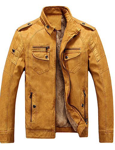 cheap Men's Outerwear-Men's Stand Collar Faux Leather Jacket Regular Solid Colored Daily Weekend Punk & Gothic Fall Winter Long Sleeve Black / Blue / Yellow M / L / XL
