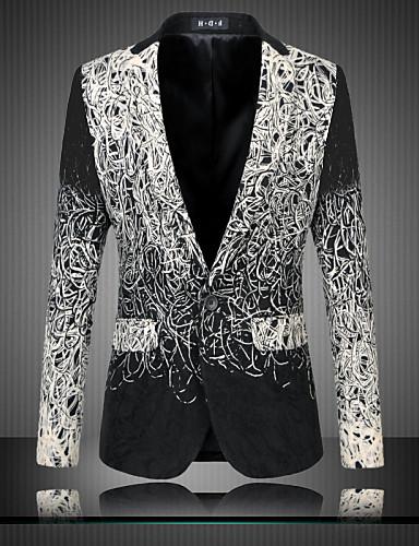 cheap Party Time-Men's Blazer Regular Party Daily Streetwear Sophisticated Plus Size Spring Fall Print Long Sleeve Black M / L / XL / Slim