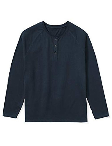 abordables Camisas Henley-pero& # 39; s camiseta henley de manga larga, -navy, 3xl