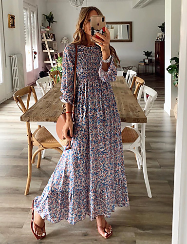cheap Exclusives-Women's Swing Dress Maxi long Dress - Long Sleeve Floral Ruched Print Spring Fall Off Shoulder Vintage Sexy Going out Flare Cuff Sleeve 2020 Rainbow M L XL XXL 3XL