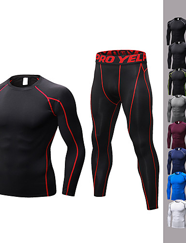 cheap Compression Clothing-YUERLIAN Men's 2-Piece Activewear Set Workout Outfits Compression Suit Athletic Long Sleeve Quick Dry Anatomic Design Breathability Fitness Gym Workout Basketball Running Jogging Sportswear Solid