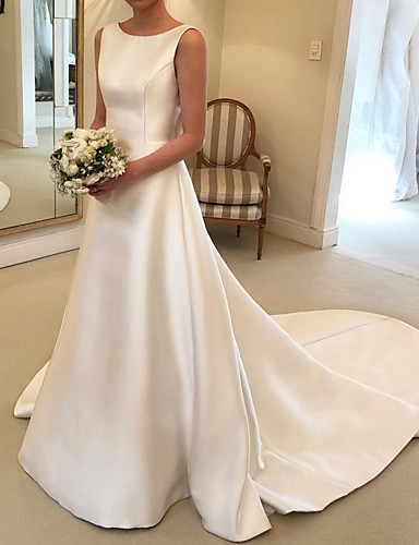 cheap Wedding Dresses-A-Line Wedding Dresses Jewel Neck Court Train Satin Sleeveless Simple with Bow(s) 2020