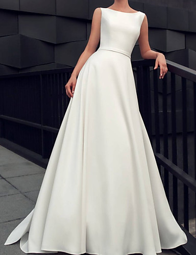 cheap Wedding Dresses-A-Line Wedding Dresses Jewel Neck Floor Length Satin Sleeveless Simple Vintage with Bow(s) Pleats 2020