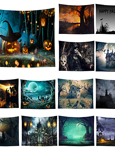 cheap Halloween Decoration-Halloween Party Wall Tapestry Art Decor Blanket Curtain Picnic Tablecloth Hanging Home Bedroom Living Room Dorm Decoration Pychedelic kull keleton Pumpkin Bat Witch Haunted cary Catle Polyeter