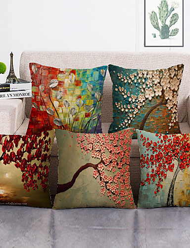 cheap Cushion Covers-1 Set of 5 Pcs Throw Pillow Covers Modern Decorative Throw Pillow Case Cushion Case for Room Bedroom Room Sofa Chair Car,18*18 Inch 45*45cm