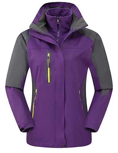 cheap Softshell, Fleece & Hiking Jackets-Women's Hiking 3-in-1 Jackets Hiking Jacket Winter Outdoor Thermal / Warm Waterproof Windproof Fleece Lining 3-in-1 Jacket Winter Jacket Top Full Length Visible Zipper Skiing Camping / Hiking Hunting