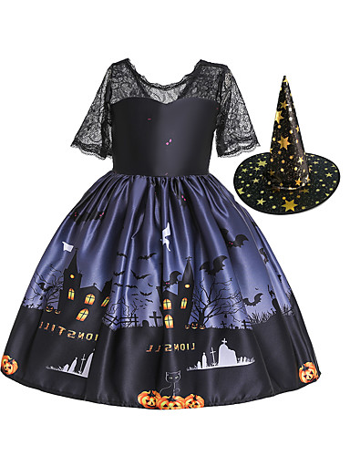 cheap Halloween & Carnival Costumes-Witch Dress Kid's Girls' Dresses Vacation Dress Halloween Halloween Festival Halloween Festival / Holiday Polyester Cotton Black Easy Carnival Costumes Pumpkin / Hat / Hat