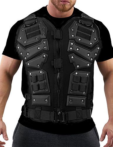 cheap Men's Plus Sizes-Men's Plus Size T-shirt Graphic Print Short Sleeve Tops Streetwear Military Round Neck White Black / Club