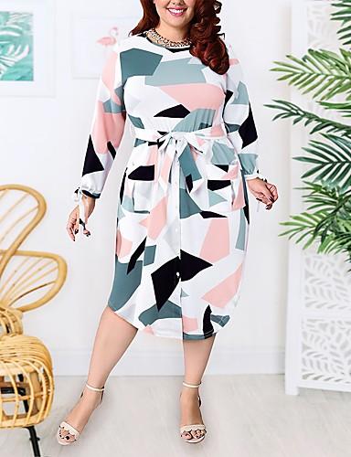cheap Plus Size Dresses-Women's A-Line Dress Knee Length Dress - Long Sleeve Geometric Patchwork Print Summer Casual Daily 2020 White XL XXL XXXL XXXXL