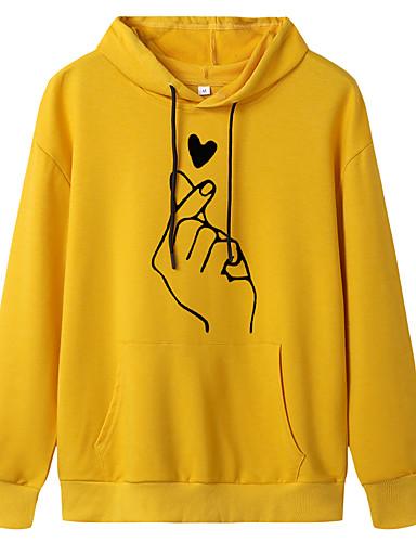 billige Gensere og hettegensere til damer-Dame Genser med hette for genser Grafisk Fritid Gensere Gensere Oversized Mørk Rosa Vinrød Hvit