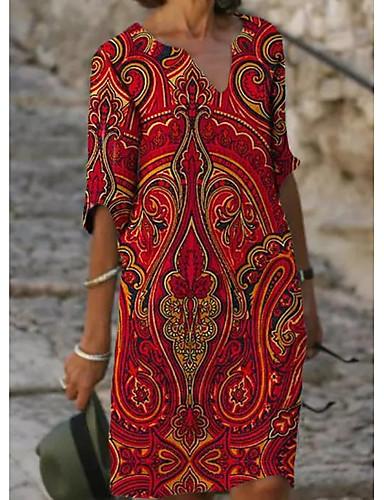 povoljno Pretprodaja-Žene Shift haljina Haljina do koljena - Rukava do lakta Cvjetni print Print Ljeto V izrez Ležerne prilike Dnevno Širok kroj 2020 Red M L XL XXL XXXL