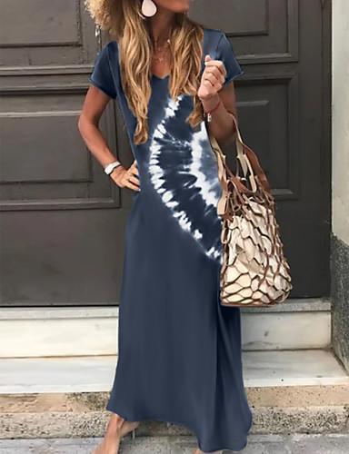 abordables Vestidos de verano-Mujer Vestido de una línea Vestido Maxi Largo - Manga Corta Tie-dye Estampado Verano Escote en Pico Clásico Festivos Vacaciones Corte Ancho 2020 Verde Trébol Gris Oscuro Marrón Azul Marino S M L XL