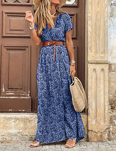 cheap Print Dresses-Women's Maxi long Dress - Short Sleeve Paisley Print Summer V Neck Casual Holiday Vacation 2020 Blue Red Brown S M L XL XXL XXXL