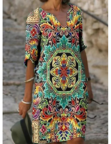 preiswerte Bedruckte Kleider-Damen Etuikleid Knielanges Kleid - Halbe Ärmel Blumen Druck Sommer V-Ausschnitt Freizeit Alltag Lose 2020 Grün M L XL XXL XXXL