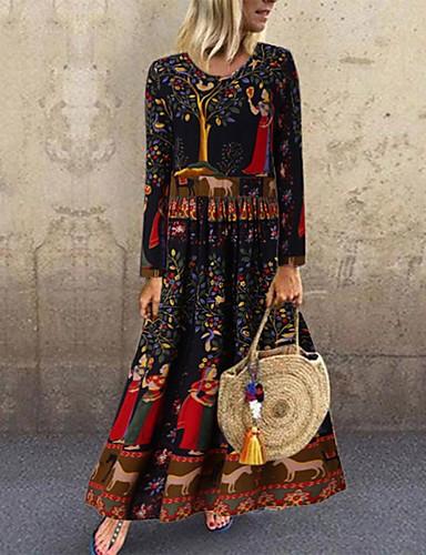 povoljno Ženske haljine-Žene Swing haljina Maks haljina - Dugih rukava Cvjetni print Životinja Print Proljeće Jesen Elegantno Dnevno Slim 2020 Crn S M L XL XXL XXXL XXXXL XXXXXL