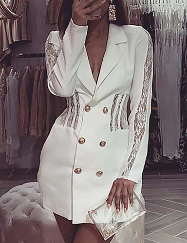 cheap Knee Length Dresses-Women's A-Line Dress Short Mini Dress - Long Sleeve Solid Color Lace Button Front Summer V Neck Casual Daily Slim 2020 White S M L XL
