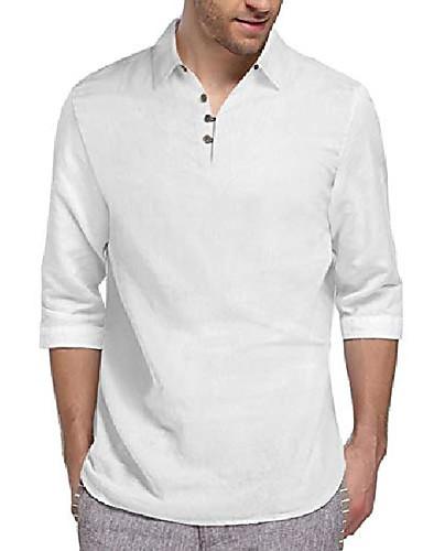 cheap Henley Shirts-but& #39;s cotton henley shirt basic collarless button up popover t shirts