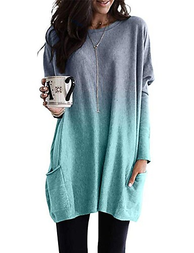 cheap Women's T-shirts-Women's Tunic Color Gradient Long Sleeve Round Neck Tops Loose Basic Basic Top Blue Purple Blushing Pink