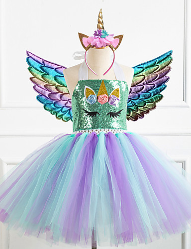 cheap Movie & TV Theme Costumes-Unicorn Dress Girls' Movie Cosplay New Year's Golden / Silver / Rainbow Dress Wings Headwear Christmas Halloween Carnival Polyester / Cotton Polyester