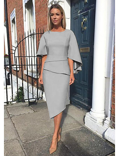 cheap Mother of the Bride Dresses-Sheath / Column Mother of the Bride Dress Elegant Jewel Neck Knee Length Charmeuse Half Sleeve with Tier 2020 Mother of the groom dresses
