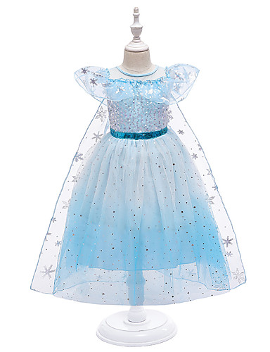 cheap Halloween & Carnival Costumes-Elsa Dress Kid's Toddler Girls' Cosplay Vacation Dress Halloween Halloween Festival Christmas Halloween Festival / Holiday Blue / Pink Easy Carnival Costumes sky Snowflake