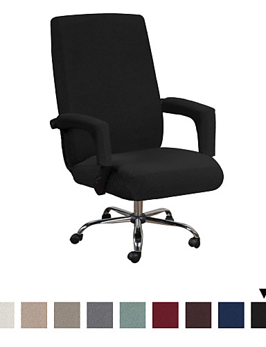 cheap Chair Cover-Office Chair Cover - Protective & Stretchable Universal Chair Covers Stretch Rotating Chair Slipcover Lycra Jacquard Computer Office Chair Cover Machine Washable XL/L Size