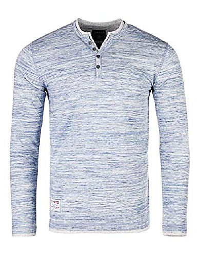 abordables Camisas Henley-pero& # 39; s cuello y dobladillo de doble capa de manga larga moda casual henley camisas azul marino blanco