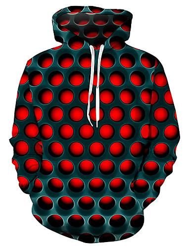 hesapli En Çok Satanlar-Erkek Büyük Bedenler Cadde Kapüşonlu Sweatshirt Kapüşonlu Giyecek Kazak Sweatshirt Geometrik 3D Kapşonlu Temel Günlük / Sade Hoodies Tişörtü Mor YAKUT Mavi