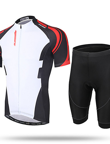 cheap Cycling Jersey & Shorts / Pants Sets-21Grams Men's Short Sleeve Cycling Jersey with Shorts Coolmax® Mesh Spandex White / Black Novelty Bike Shorts Pants / Trousers Jersey Breathable 3D Pad Quick Dry Ultraviolet Resistant Reflective