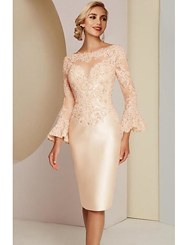 cheap Mother of the Bride Dresses-Sheath / Column Mother of the Bride Dress Elegant Vintage Plus Size Jewel Neck Knee Length Lace Satin Long Sleeve with Lace 2020 Mother of the groom dresses