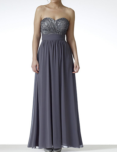 cheap Bridesmaid Dresses-A-Line Strapless Floor Length Chiffon / Sequined Bridesmaid Dress with Pleats